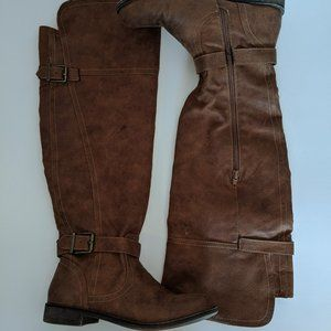 Just Fab Knee Hi Boots Brown Leather Size 6.5